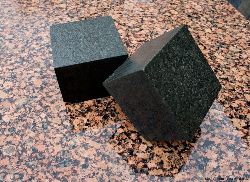 Sawn-sledged granite paving stones, габбро, 100мм х 200мм х 50мм